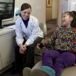 Park Dental dentist Stacey K. (Vogt) Wolken, DDS, gave an assessment to patient Zoe Medina, 7, at the Eden Prairie Park Dental office, Friday, February 1, 2013. Medina was one of 32 patients signed up to get free dental care. The entire Park Dental staff came in on a voluntary basis to work for Give Kids a Smile. The organization is a charitable program coordinated by the Minnesota Dental Association to provide free care to low-income children in need. The two-day, statewide event is Friday, Feb. 1, and Saturday, Feb. 2, 2013. Up to 6,000 children received free dental care across the state. A record 585 volunteer dentists took part in the event. Teeth cleanings, fillings, sealants and exams were being provided. (ELIZABETH FLORES/STAR TRIBUNE) ELIZABETH FLORES • eflores@startribune.com